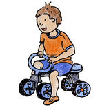 Child riding tricycles. Royalty Free Stock Photo