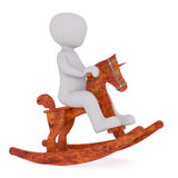 Child riding wooden horsey. 3D render figure of kid sitting on back of wooden rocking horse. Isolated on white Royalty Free Stock Images