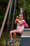 Child rids on Flying Fox Royalty Free Stock Photo