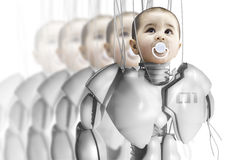 Child robot, creating clones Royalty Free Stock Photo
