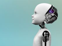 Child robot head in profile. The profile of a child robot gazing into the future Royalty Free Stock Photo
