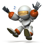 Child robot plays with the long jump. Royalty Free Stock Photography