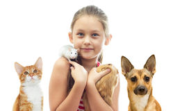Child and rodents and a cat and a dog Royalty Free Stock Images