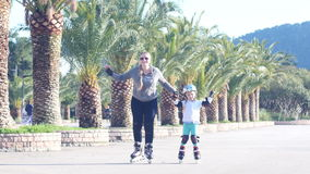 Child rollerblading outdoors. sport lifestyle. stock video