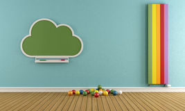 Child room. With blackboard and colorful vertical heater - 3D Rendering Stock Images