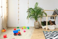 Child room in bohemian style. Natural safe child room in modern bohemian eco friendly style royalty free stock photography