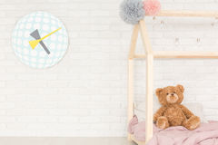 Child room with decorative clock Stock Photos