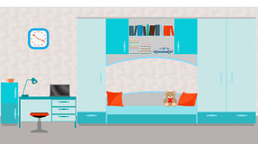 Child room interior with bed, table, laptop, books,toys and wall Stock Photo