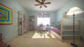 Child room interior stock video footage