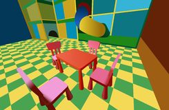 Child room with labyrinth and table with chairs Royalty Free Stock Photos