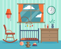 Child room for the newborn baby. Vector flat Royalty Free Stock Photography