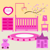 Child room for the newborn girl. Baby girl bedroom with furniture. Stock Images