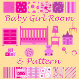 Child room for the newborn girl. Baby girl bedroom with furniture and wallpaper seamless patterns set.  Royalty Free Stock Photo