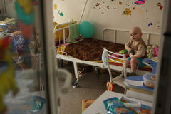 Child in room on oncohematological department. Tomsk, Russia - June 25, 2009: Unidentified child in pediatric oncohematological department on Tomsk Regional Stock Image