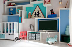 Child room in retro style Stock Images
