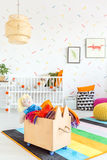 Child room with toy box Royalty Free Stock Photo