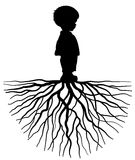 Child with root. The silhouette of a child with root Stock Images