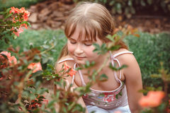 Child with rose flower in spring garden Stock Images
