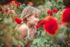 Child with rose flower in spring garden Stock Image