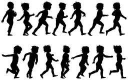 Child running. Black silhouettes, fourteen different postures Royalty Free Stock Image