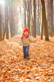 Child running in autumn forest Royalty Free Stock Image