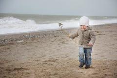 Child running on beach Royalty Free Stock Image