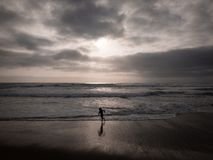 A child running on the beach with breathtaking dark clouds royalty free stock photography