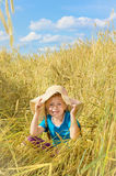The child in the rye field Royalty Free Stock Images