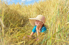 The child in the rye field Stock Images