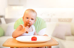 Child's Appetite. Hungry little  boy eat chicken. Yummy but harmful Royalty Free Stock Photography