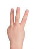 Child's arm with three fingers straightened Royalty Free Stock Photography