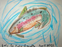 A Child's Art. A beautiful piece of artwork done by a child for his grandpa fishing partner Royalty Free Stock Photography