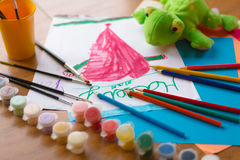 Child`s Art Project Royalty Free Stock Images