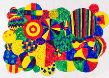 Child's artwork. Child's colorful artwork of felt tip circle patterns Stock Photos