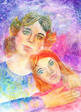 Child's Artwork - Portrait of a mother with daughter Royalty Free Stock Images