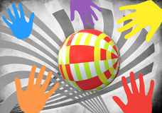 Child's ball and fun hand. Child's colorful ball and fun hand Royalty Free Stock Photography