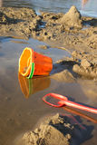 Child's beach bucket and shovel Stock Images