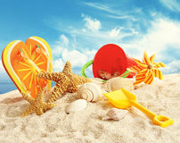 Child's beach toys in the sand Royalty Free Stock Photography