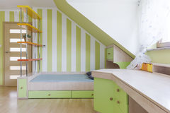 Child's bedroom and study room combined idea Royalty Free Stock Photography