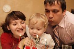 Child's birthday. The family celebrates child's birthday at home Royalty Free Stock Photography