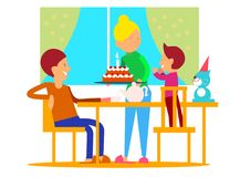 Child`s Birthday Celebration Flat Design Colorful. Child`s first birthday celebrationt. Mother puts decorated tier cake with candle on table, glad father and Stock Photography