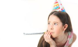 Child`s birthday party. Little girl happy celebrate. Teenager or preteen, carnival. Celebrating brightful carnival for stock photo