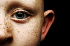 Child's Blue Eye. A close up shot of a 6 year old child with blue eyes Stock Images