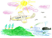 Child's bright drawing. Voyage by ship and airplane Royalty Free Stock Images