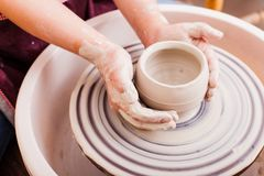 Child`s ceramic handicrafts Stock Photo