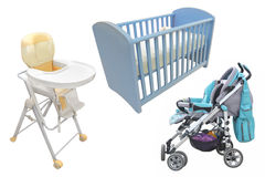 Child's chair, bed and perambulator Stock Photo