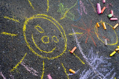 Child's chalk drawing Stock Photography