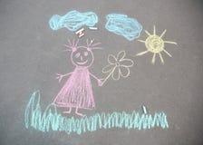 Child`s chalk drawing of girl on asphalt Royalty Free Stock Photos