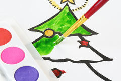 Child's Christmas Colouring Stock Photography