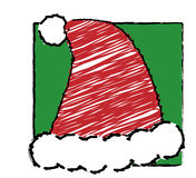 Child's christmas -  Santa hat. Illustration of Santa hat as if drawn by a child Royalty Free Stock Image
